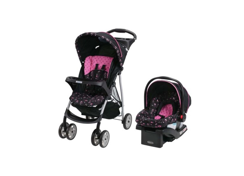 Graco LiteRider Click Connect Travel System Stroller – with SnugRide Click Connect 22 Infant Car Seat (Priscilla)