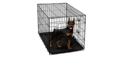 OxGord 24 Heavy Duty Foldable Double Door Dog Crate with Divider and Removable ABS Plastic Tray (24 x 17 x 19)