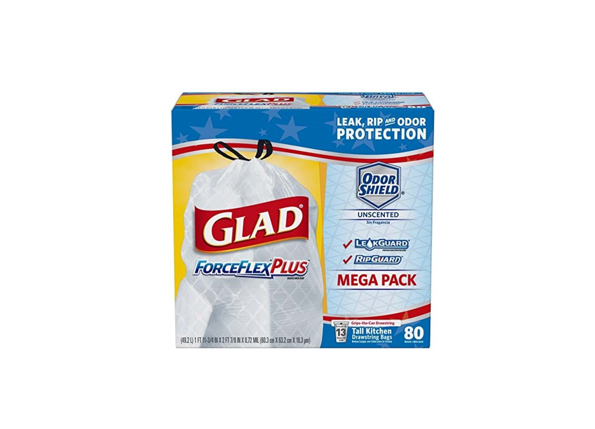 80 Count Glad ForceFlexPlus Tall Kitchen Drawstring Trash Bags - Unscented (13 Gallon) for $9.38 at Amazon with Save & Subscribe
