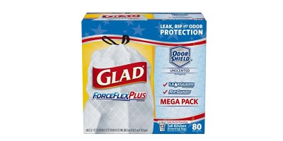 80 Count Glad ForceFlexPlus Tall Kitchen Drawstring Trash Bags – Unscented (13 Gallon)