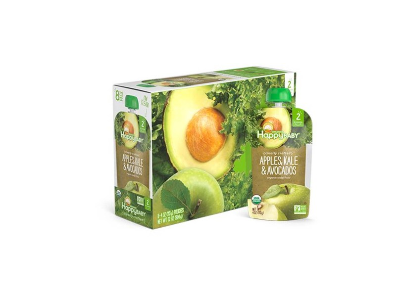 16 Count 4 Ounce Happy Baby Clearly Crafted Organic Baby Food Stage 2 (Apples Kale & Avocados)