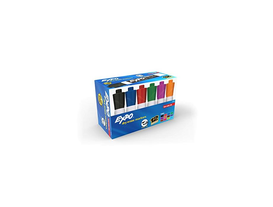 EXPO Low Odor Dry Erase Markers  Chisel Tip  Assorted Colors  Box of 12 for $9.97 at Amazon