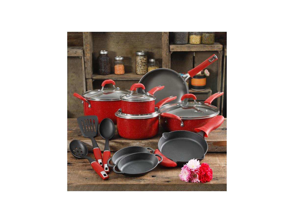 The Pioneer Woman Vintage Speckle Red Cookware Set, 17 Piece for $99.97 at Walmart