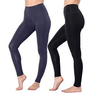 90 Degree By Reflex High Waist Cotton Power Flex Leggings - Tummy Con...