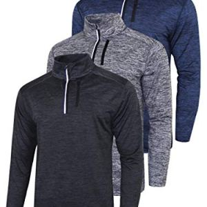 3 Pack Men's Long Sleeve Active Quarter Zip Quick Dry Pullover - Athl...