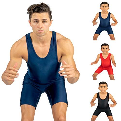 4 Time All American Solid Navy Wrestling Singlet Size 5XL