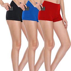 Cadmus Women's High Waist Workout Running Shorts with Pocket,3 Pack,0...