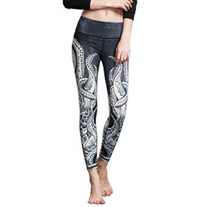MTSCE Yoga Pants Yoga Capris Printed Workout Leggings (XXL, Octopus)