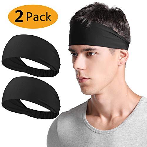 Neitooh Headbands for Men Women(2 Pack), Mens Headband Elastic Sweat ...