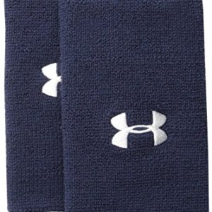 """Under Armour 6"""" Performance Wristband 2-Pack, Midnight Navy (410)/Whi..."""