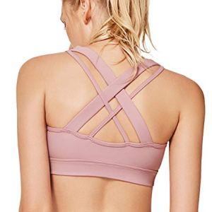 Yvette Low Impact Wireless Yoga Sports Bra for Women with Sexy Strapp...