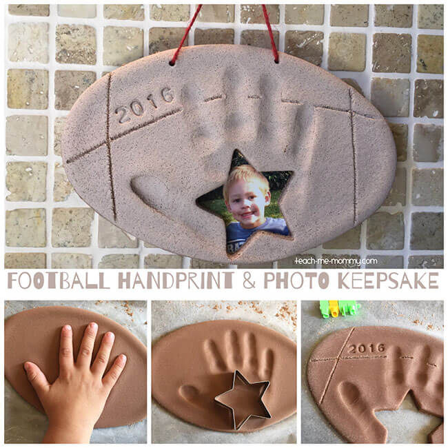 Football Handprint Photo Keepsake