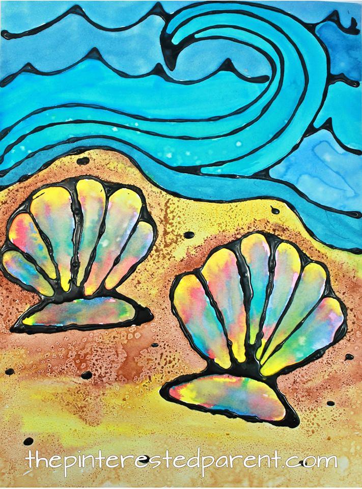 Sea Shell Black Glue Craft