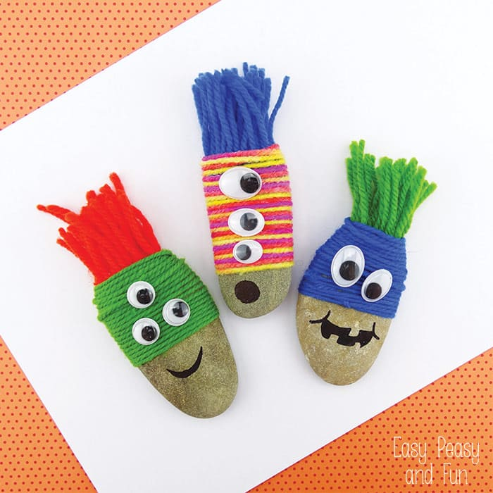 Yarn Wrapped Rock Monsters