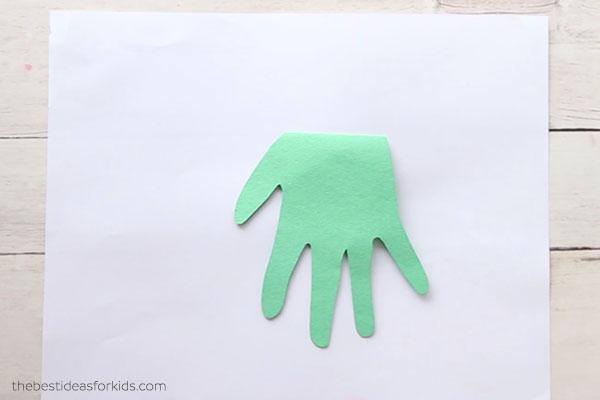 Cut out handprint and glue down