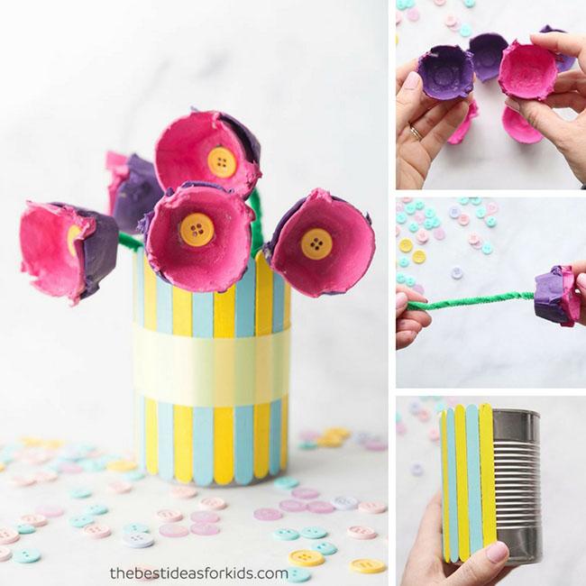Egg Tray Flower Craft