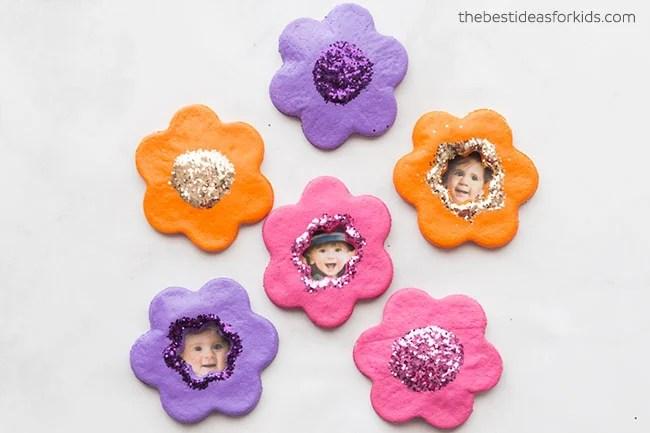 Salt Dough Flower Magnets