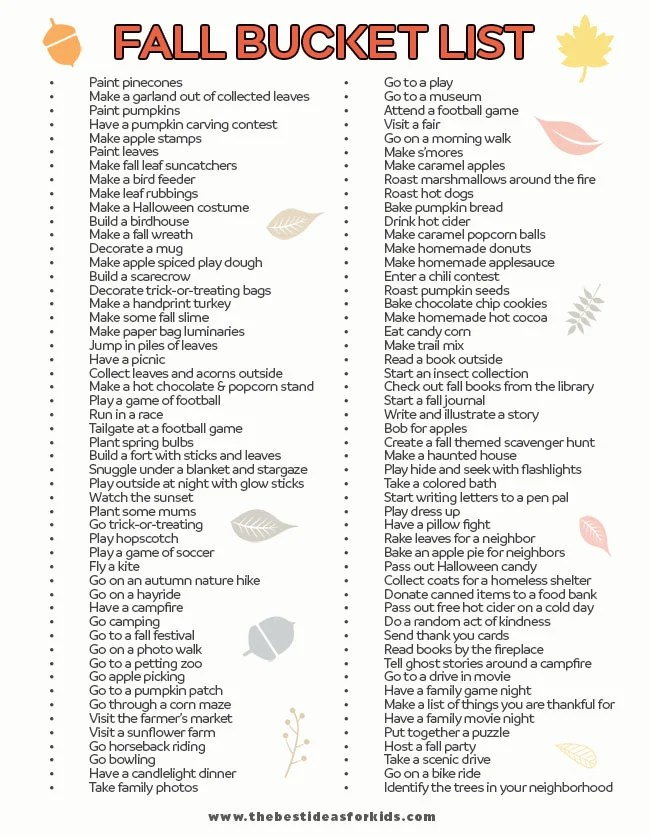 Fall Bucket List for Kids
