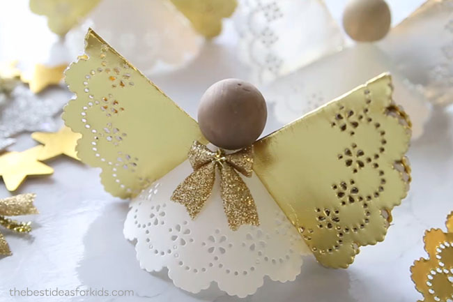 Glue the Bow to the Angel Ornament