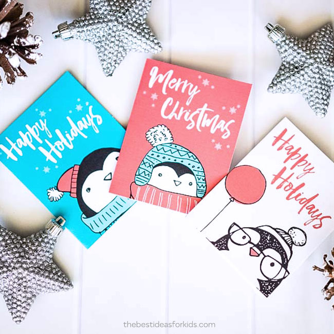 Penguin Free Christmas Card Printable