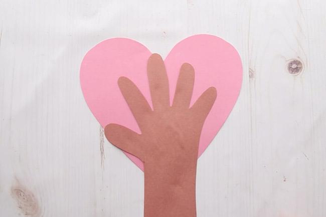 Glue Handprint to Heart