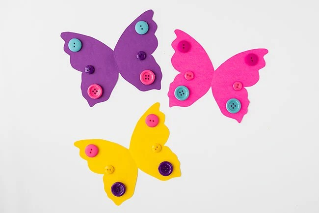 Glue Buttons on Toilet Paper Roll Butterfly