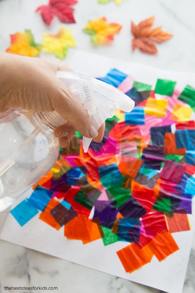 Spray Tissue Paper to Make Art