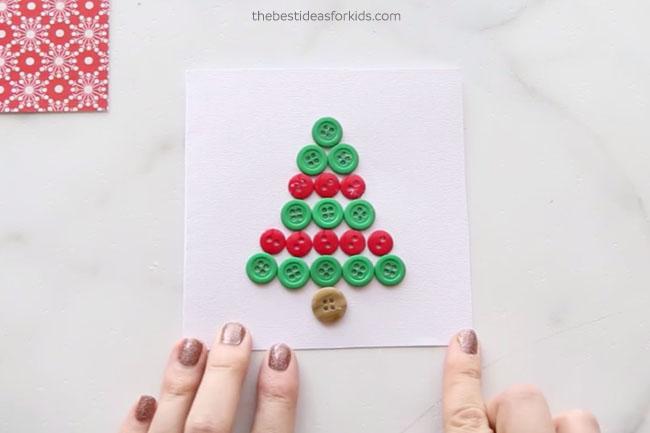 Christmas Tree Button Card DIY