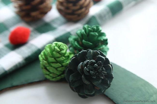 Glue Pine cones to Wreath