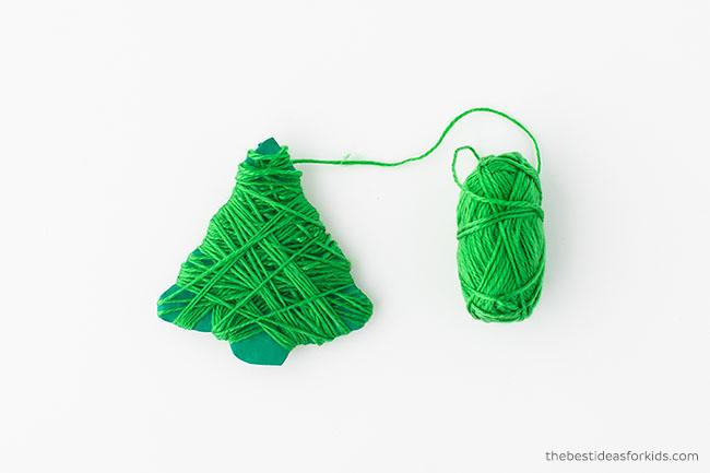 Yarn wrap Christmas tree cardboard ornament