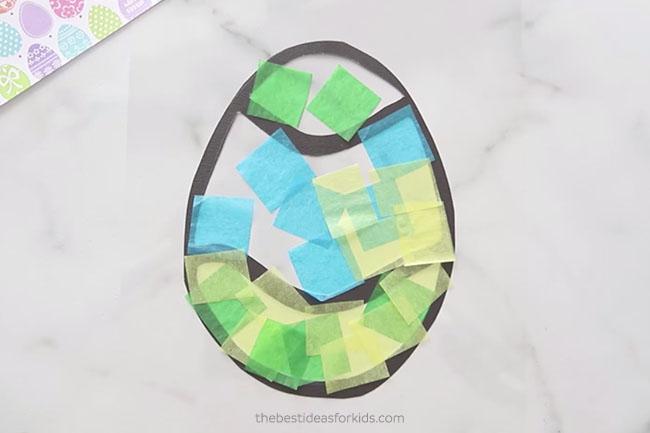 Add Tissue Paper to Easter Suncatchers