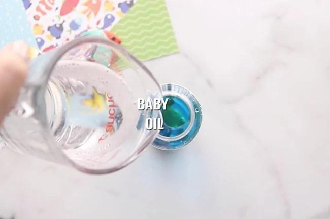 Add Baby Oil to Sensory Bottle
