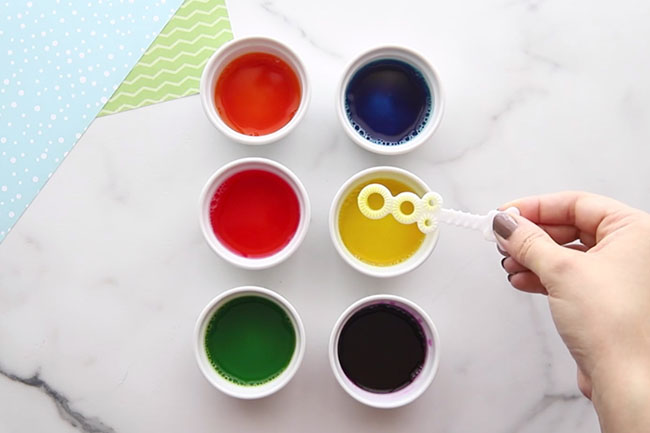 Mix Food Coloring with Bubble Solution