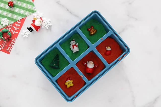 Add Christmas Charms in Ice Cube Tray
