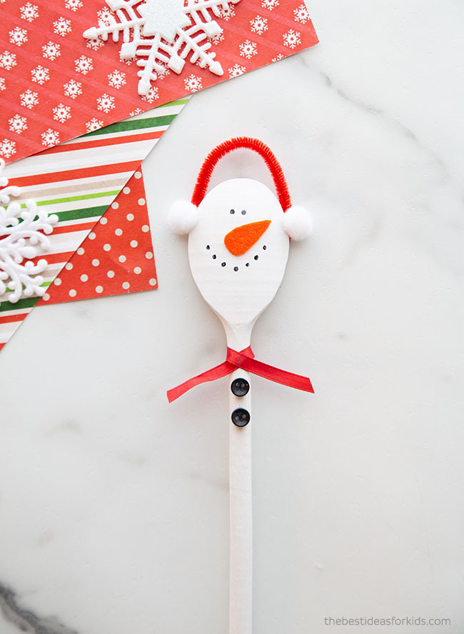 Wooden Spoon Snowman