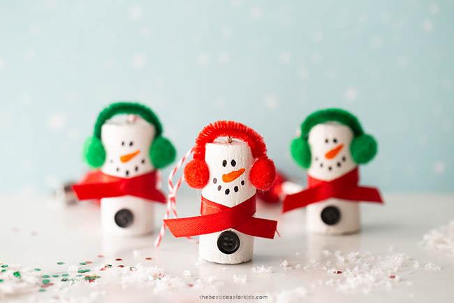 Cork Snowman Craft Ornament