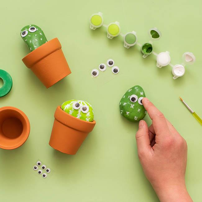 Add Googly Eyes to Cactus Rocks