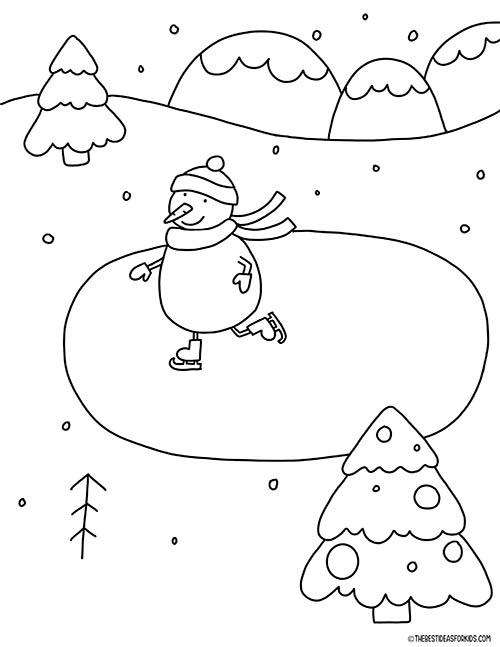 Snowman Skating Coloring Page