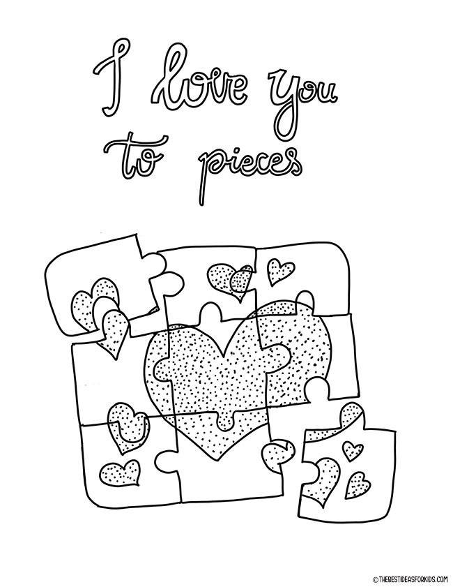 I love you to pieces coloring page