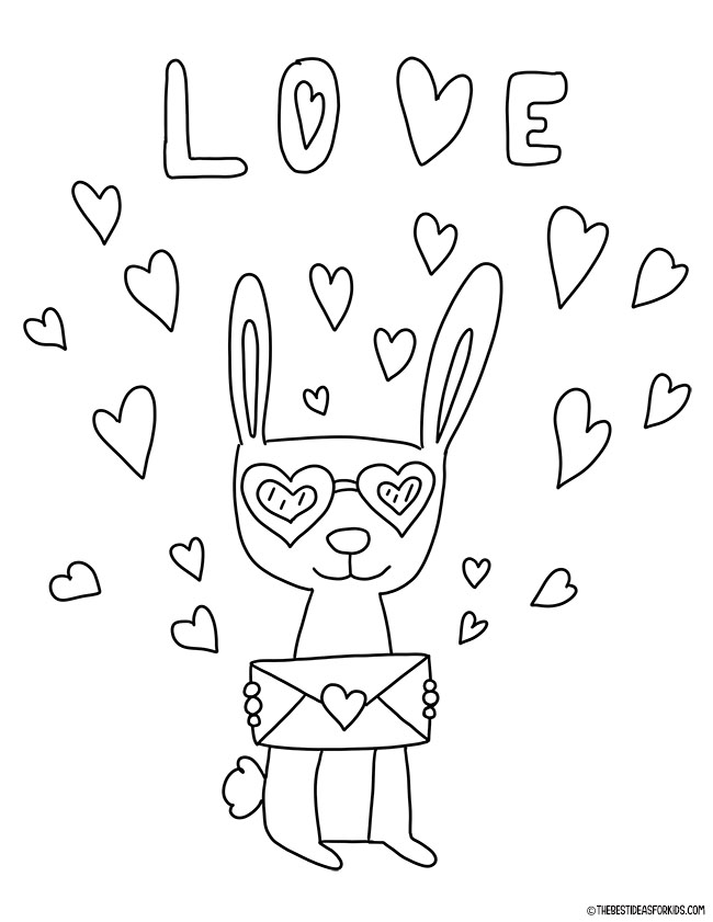 Valentine Rabbit Coloring Page for Kids