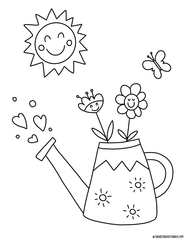 Spring Watering Can Coloring Page