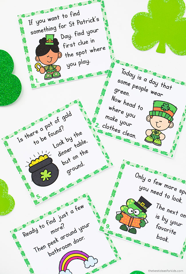 St Patrick's Day Scavenger Hunt Clue Cards Printable