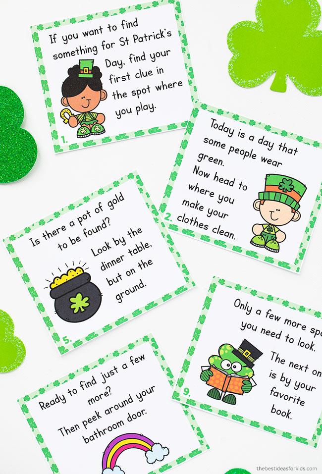 St Patrick's Day Scavenger Hunt Clue Cards Printable