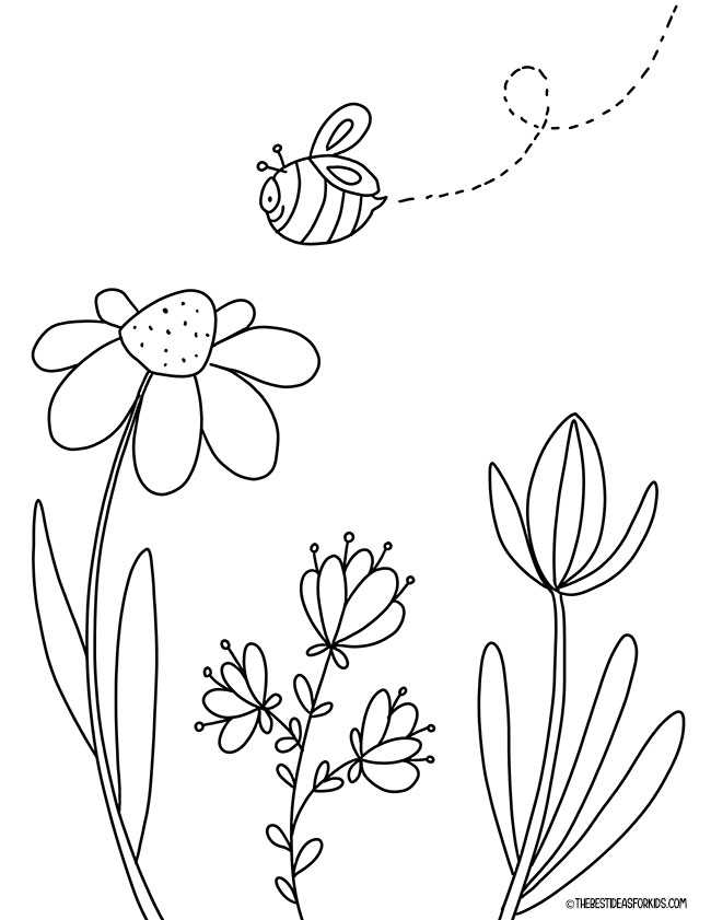 Bee & Flower Coloring Page