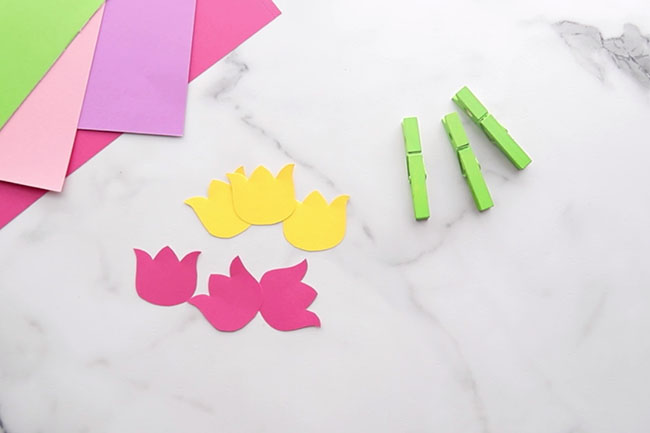Cut out 3 Tulip Paper Shapes