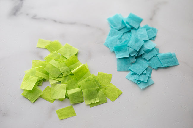 Cut up tissue papers into squares