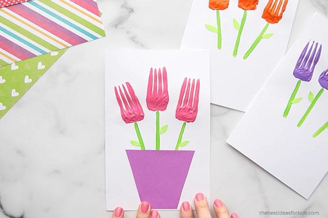 Glue Vase onto Fork Flower Card