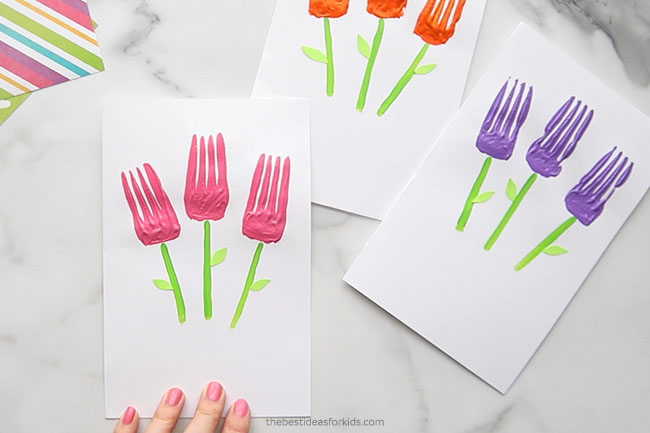Glue on Leaves to Fork Flowers