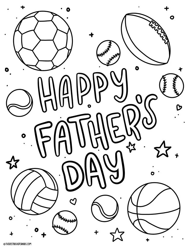 Happy Father's Day Sports Coloring Page