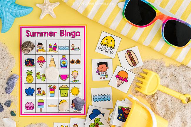 Bingo de verão para crianças